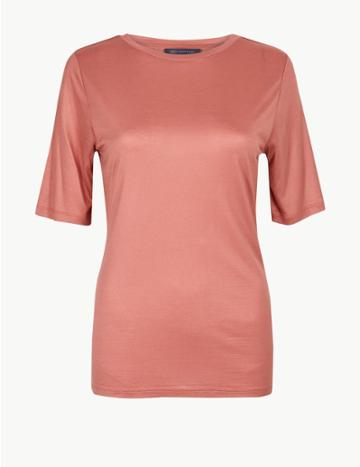 Marks & Spencer Round Neck Short Sleeve T-shirt Terracotta