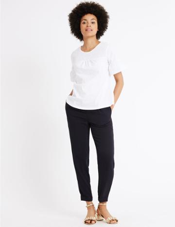 Marks & Spencer Drawstring Crepe Tapered Leg Trousers Navy
