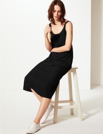Marks & Spencer Slip Midi Dress Black