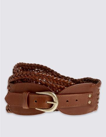 Marks & Spencer Leather Weave Waist Belt Dark Tan