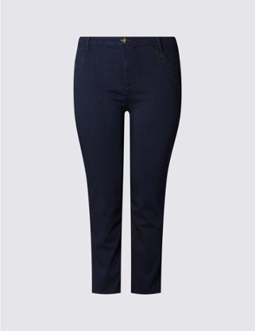 Marks & Spencer Plus Bling Mid Rise Straight Leg Jeans Indigo