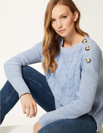 Marks & Spencer Cotton Blend Cable Round Neck Jumper Blue