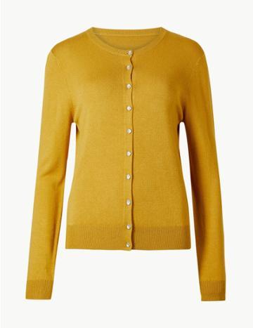 Marks & Spencer Long Sleeve Round Neck Cardigan Ochre