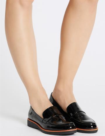 Marks & Spencer Leather Block Heel Loafers Black Patent