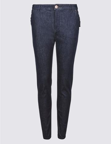 Marks & Spencer Frill Pocket Roma Rise Skinny Leg Jeans Dark Indigo