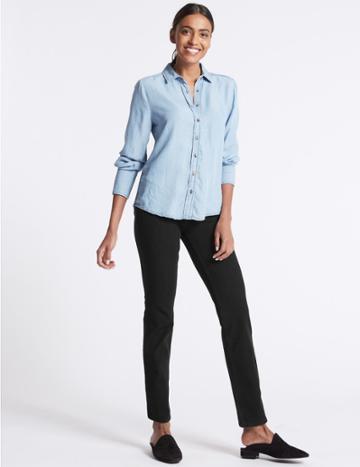 Marks & Spencer Bi-stretch Mid Rise Straight Leg Jeans Black
