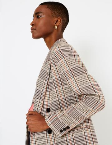 Marks & Spencer Checked Double Breasted Blazer Oatmeal Mix