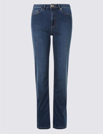 Marks & Spencer Sculpt & Lift Roma Rise Straight Leg Jeans Medium Blue