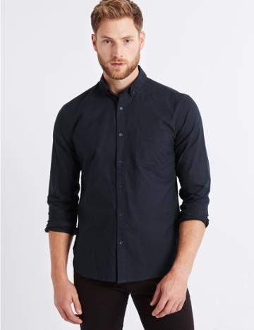 Marks & Spencer Pure Cotton Slim Fit Oxford Shirt With Pocket Navy