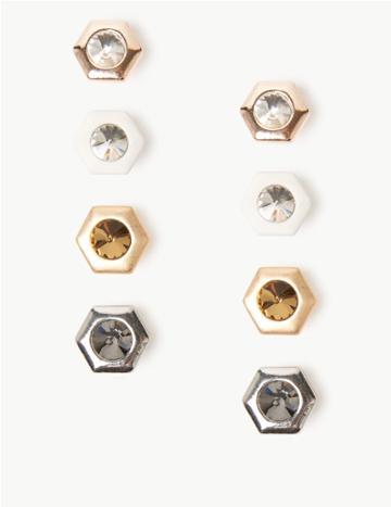 Marks & Spencer Multi Pack Mini Stud Earrings Neutral