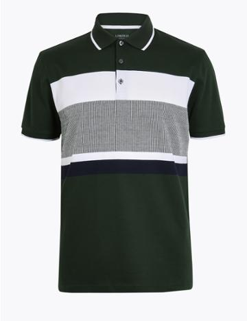 Marks & Spencer Cotton Striped Polo Shirt Dark Green