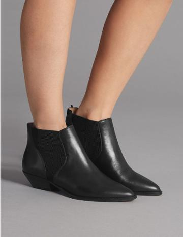 Marks & Spencer Leather Western Ankle Boots Black