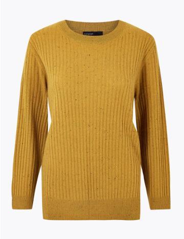 Marks & Spencer Pure Cashmere Ribbed Round Neck Jumper Mustard