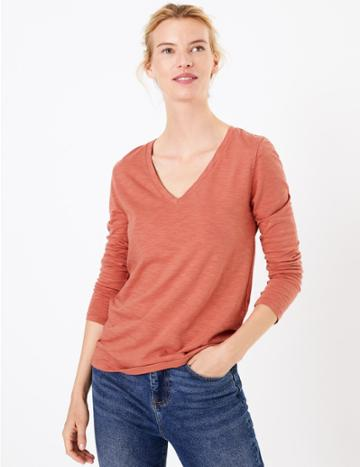 Marks & Spencer Cotton Rich Straight Fit T-shirt Cinnamon Blush