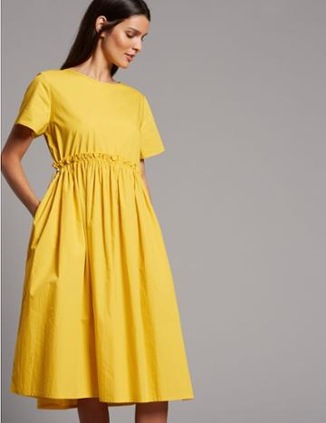 Marks & Spencer Pure Cotton Drawcord Swing Dress Yellow