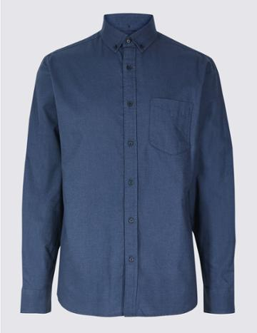 Marks & Spencer Pure Cotton Slim Fit Oxford Shirt With Pocket Midnight