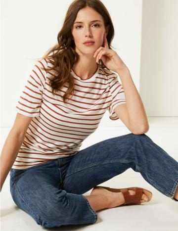 Marks & Spencer Striped Round Neck Short Sleeve T-shirt Brown Mix