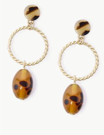 Marks & Spencer Pebble Ring Drop Earrings Brown Mix