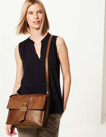 Marks & Spencer Leather Messenger Bag Navy