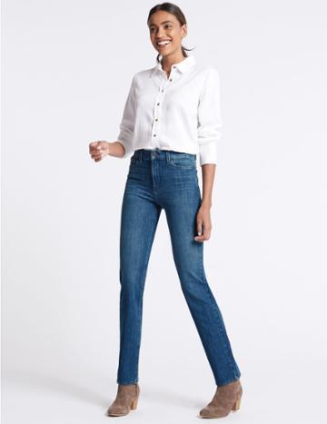 Marks & Spencer Bi-stretch Mid Rise Straight Leg Jeans Medium Blue