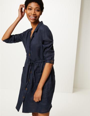 Marks & Spencer Pure Linen 3/4 Sleeve Shirt Dress Navy