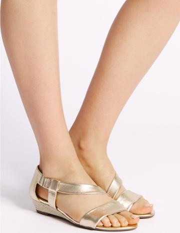 Marks & Spencer Wedge Heel Leather Asymmetric Sandals Gold