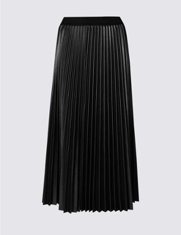 Marks & Spencer Pleated Midi Skirt Black