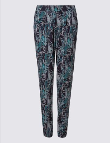 Marks & Spencer Geometric Print Tapered Leg Trousers Blue Mix