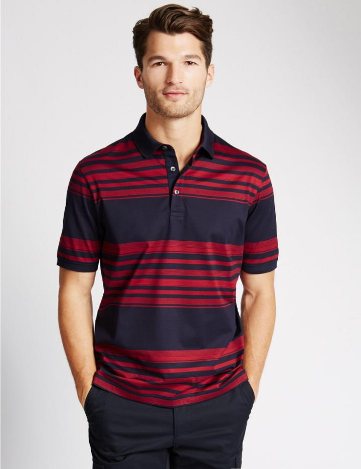 Marks & Spencer Pure Cotton Striped Polo Shirt Red Mix