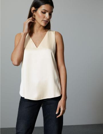 Marks & Spencer Pure Silk Vest Top Ivory