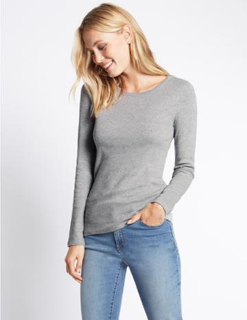 Marks & Spencer Pure Cotton Round Neck Long Sleeve T-shirt Grey Marl