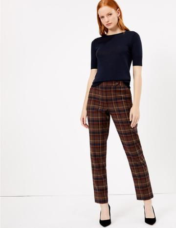 Marks & Spencer Checked Straight Leg Trousers