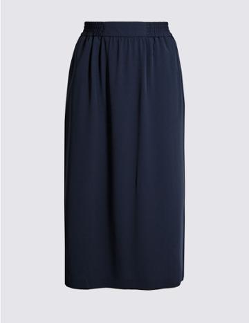 Marks & Spencer Split Front A-line Midi Skirt Navy