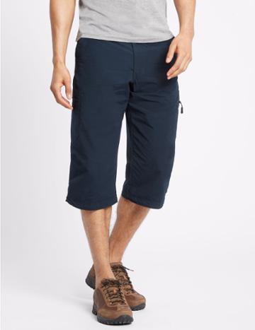 Marks & Spencer Cotton Rich 3/4 Leg Trekking Shorts Navy