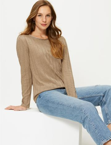 Marks & Spencer Ribbed Round Neck Open Knit T-shirt Light Buff