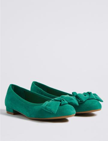Marks & Spencer Extra Wide Fit Bow Ballet Pumps Green