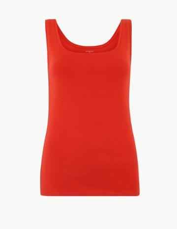 Marks & Spencer Pure Cotton Scoop Neck Vest Top Red