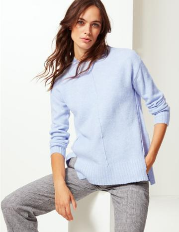 Marks & Spencer Relaxed Supersoft Round Neck Jumper Pale Blue