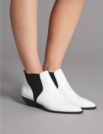 Marks & Spencer Leather Western Ankle Boots White