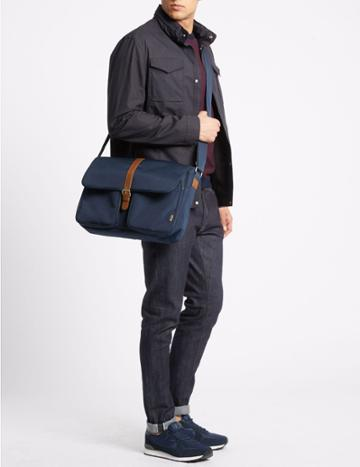 Marks & Spencer Casual Scuff Resistant Cordura® Messenger Navy