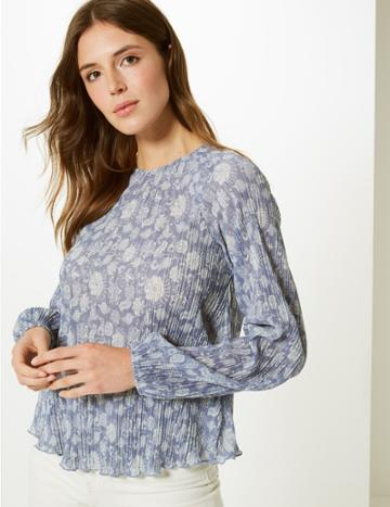 Marks & Spencer Floral Print Sheer Round Neck Blouse Blue Mix