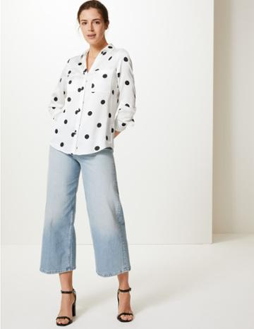 Marks & Spencer Polka Dot Button Detailed Shirt Ivory Mix