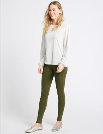 Marks & Spencer Mid Rise Skinny Leg Jeans Olive Mix