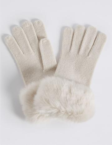 Marks & Spencer Faux Fur Cuff Gloves With Thinsulate™ Cream