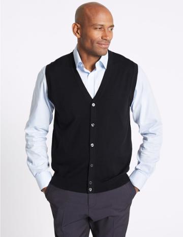 Marks & Spencer Pure Merino Wool Waistcoat Navy