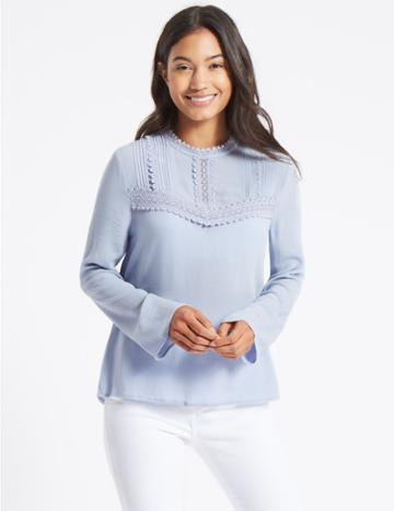 Marks & Spencer Lace Pintuck Round Neck Long Sleeve Blouse Blue