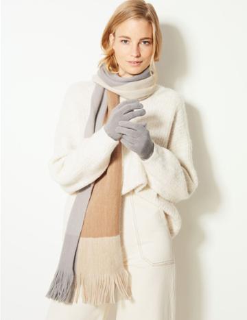 Marks & Spencer Colour Block Scarf & Gloves Set Grey Mix