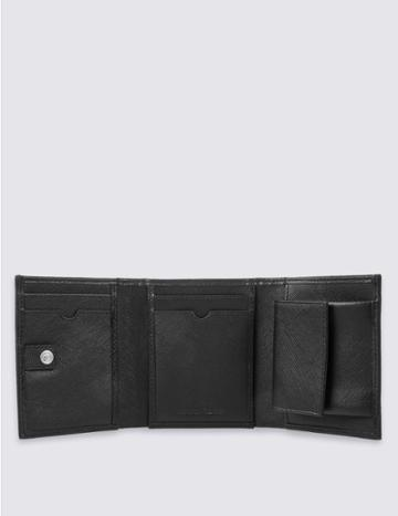 Marks & Spencer Leather Saffiano Trifold Wallet With Cardsafe™ Black