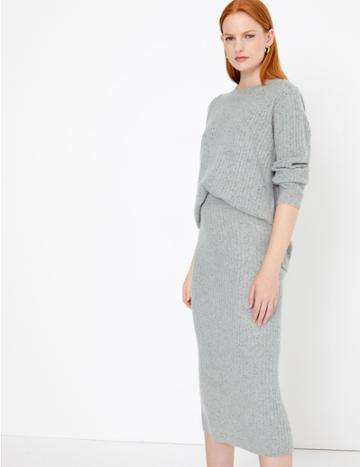 Marks & Spencer Pure Cashmere Ribbed Round Neck Jumper Grey Mix