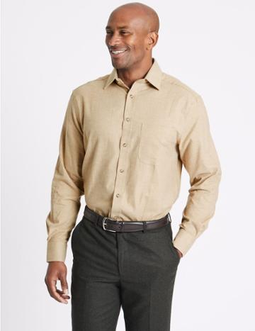 Marks & Spencer Pure Cotton Twill Regular Fit Shirt Neutral